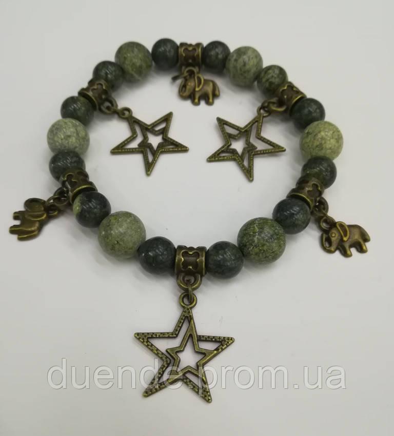 Браслет Змеевик, натуральный камень, цвет зеленый и его оттенки, с подвесками, тм Satori \ Sb - 0151