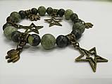 Браслет Змеевик, натуральный камень, цвет зеленый и его оттенки, с подвесками, тм Satori \ Sb - 0151, фото 2