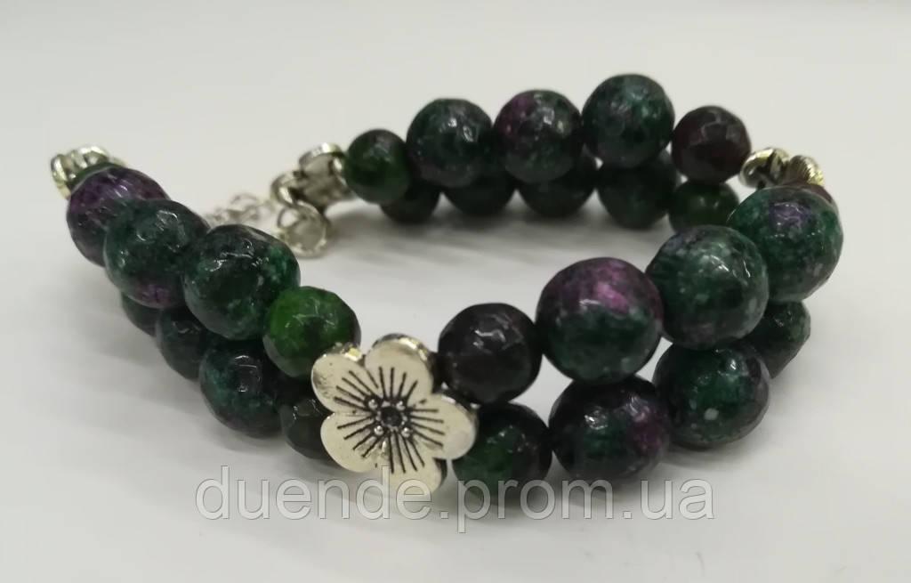 Браслет Цоизит двойной, натуральный камень, цвет зеленый и его оттенки, тм Satori \ Sb - 0153