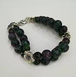 Браслет Цоизит двойной, натуральный камень, цвет зеленый и его оттенки, тм Satori \ Sb - 0153, фото 2