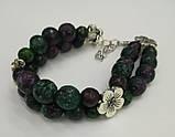 Браслет Цоизит двойной, натуральный камень, цвет зеленый и его оттенки, тм Satori \ Sb - 0153, фото 3