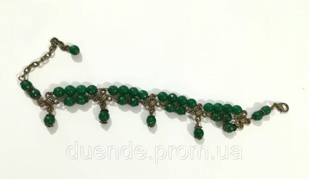 Браслет из Хризопраза бронза, натуральный камень, цвет зеленый и его оттенки, тм Satori \ Sb - 0160