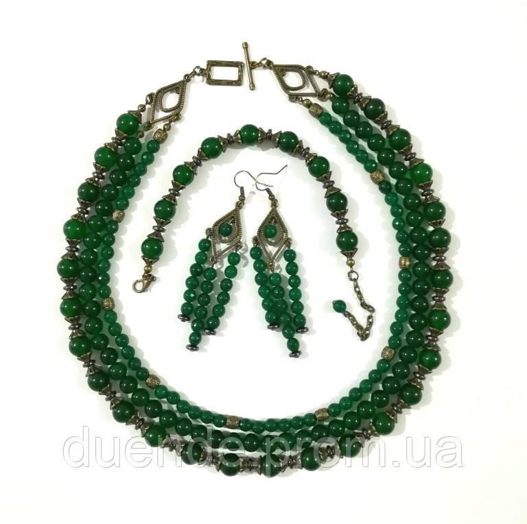 Комплект украшений из Хризопраза бронза, натуральный камень, тм Satori \ Sn - 0059
