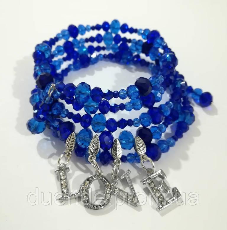 Браслет спираль LOVE Чешский хрусталь, оттенки синего, тм Satori \ Sb - 0280