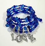 Браслет спираль LOVE Чешский хрусталь, оттенки синего, тм Satori \ Sb - 0280, фото 2