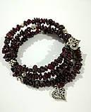 Браслет спираль из Граната , натуральный камень, цвет бордо и его оттенки, тм Satori \ Sb - 0283, фото 2