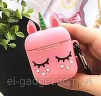 Чехол футляр для наушников AirPods Единорог розовый силиконовый