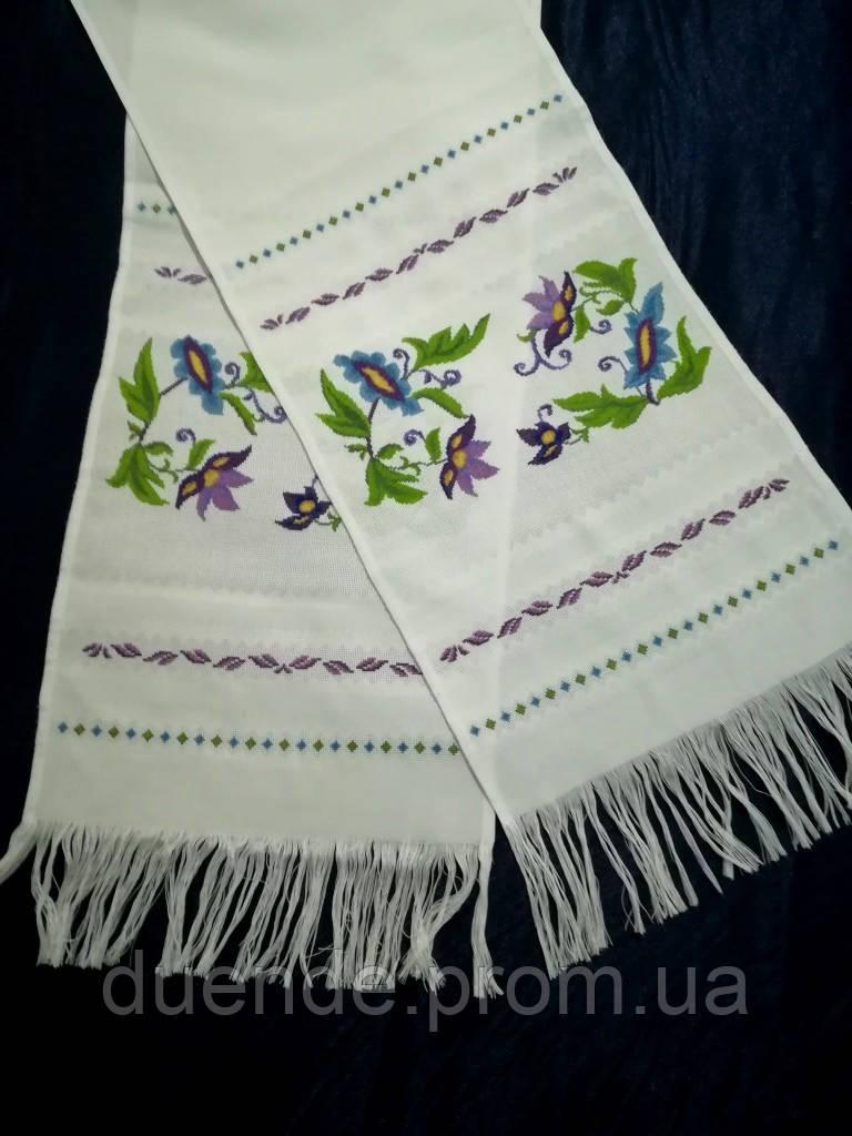 Рушник вышитый Клематисы, ручная вышивка