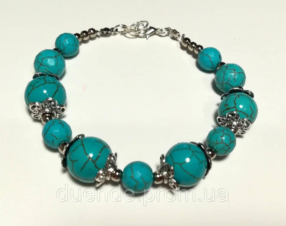 Браслет из Бирюзы, натуральный камень, цвет голубой и его оттенки, тм Satori \ Sb - 0164