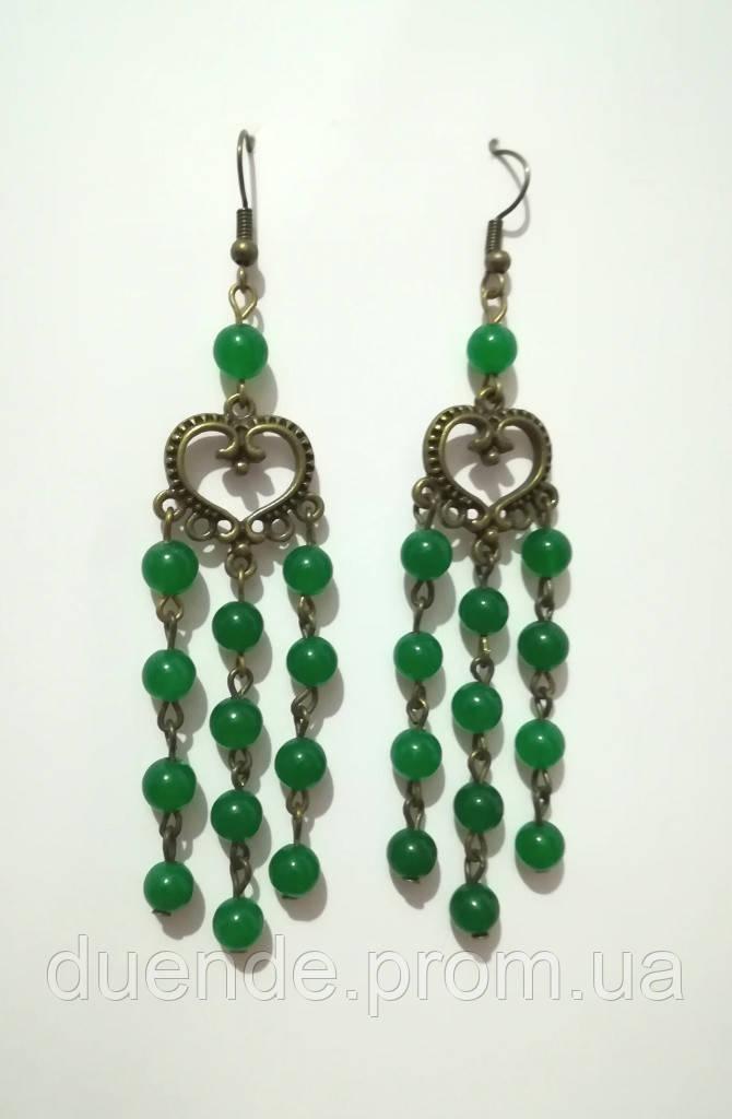 Серьги из Хризопраза натуральный камень, бронза, цвет зеленый и его оттенки, тм Satori \ S - 0076