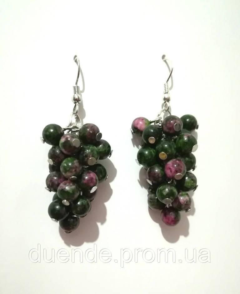 Серьги из Цоизита гроздь, натуральный камень, цвет зеленый и его оттенки, тм Satori \ S - 0080