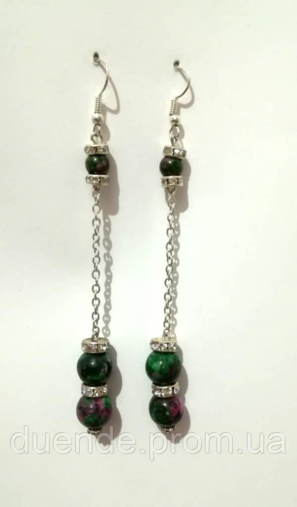 Серьги из Цоизита длинные, натуральный камень, цвет зеленый и его оттенки, тм Satori \ S - 0122