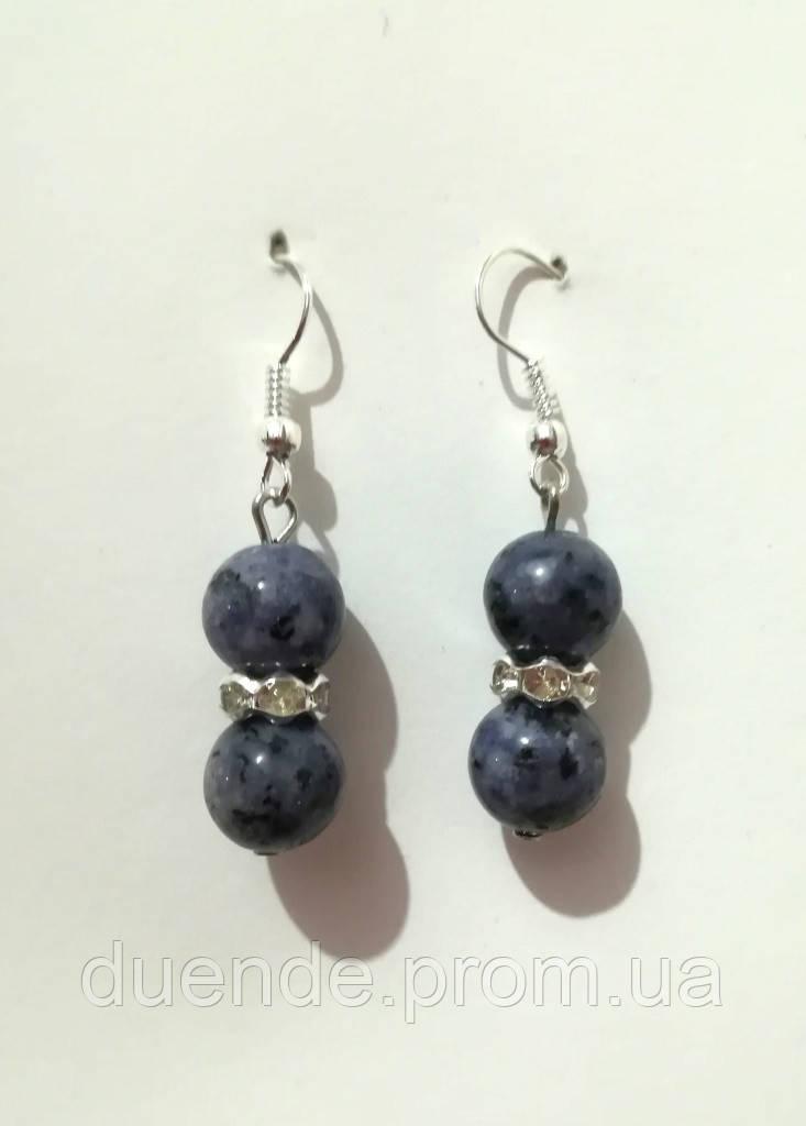 Серьги из Сапфирового Кварца, натуральный камень, цвет сине-серый и его оттенки, тм Satori \ S - 0125