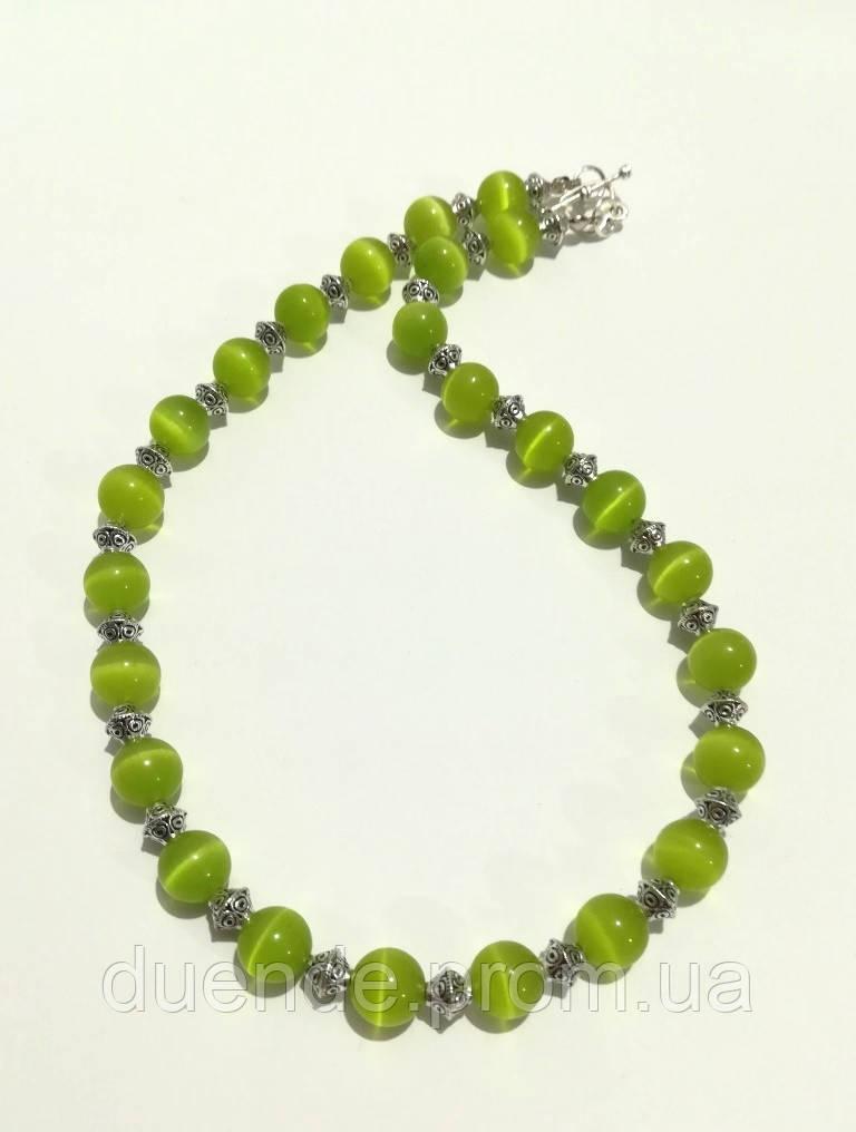 Колье из Кошачьего глаза, натуральный камень, цвет травяной, тм Satori \ Sk - 0055