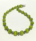 Колье из Кошачьего глаза, натуральный камень, цвет травяной, тм Satori \ Sk - 0055, фото 2