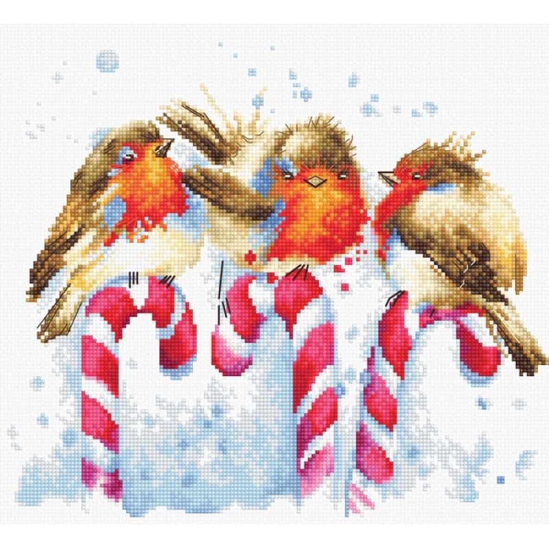 Наборы для вышивания крестом Luca S Детское Рождественские птички