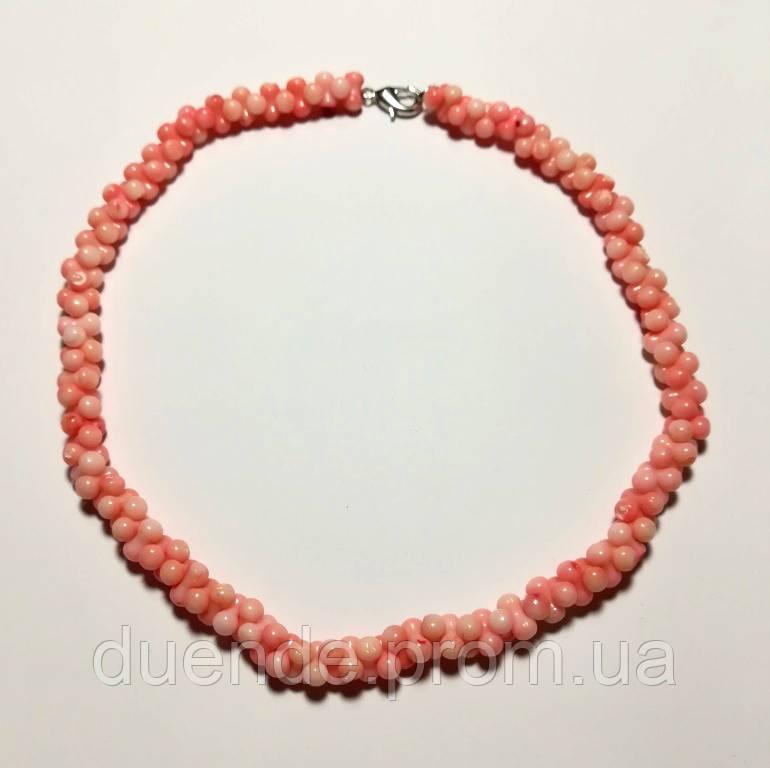 Бусы из Коралла, натуральный камень, цвет розовый и его оттенки, тм Satori \ Sk - 0023