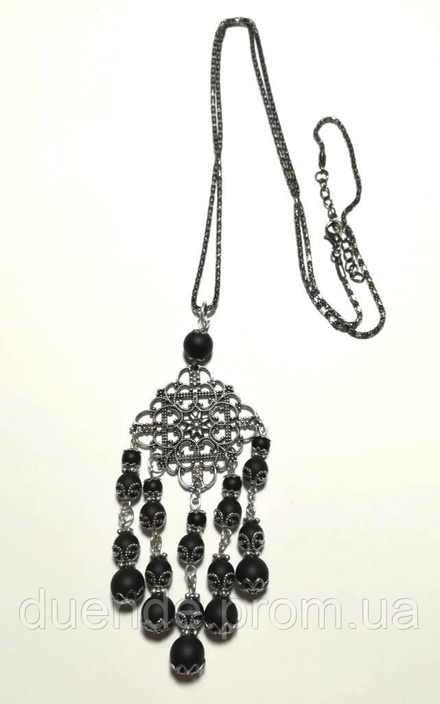 Подвеска из Шунгита с цепочкой, натуральный камень, цвет черный, тм Satori \ Sk - 0036