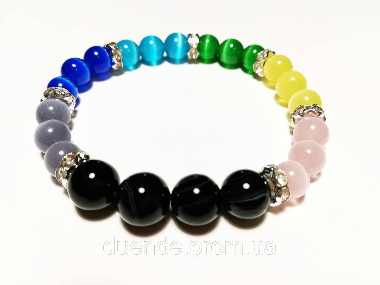 Йога браслет из Кошачьего глаза и Агата, натуральный камень, 7 цветов, тм Satori \ Sb - 0189