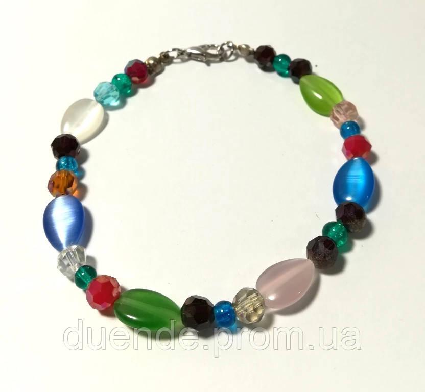 Браслет тонкий Кошачий глаз, натуральный камень, разные цвета, тм Satori \ Sb - 0191