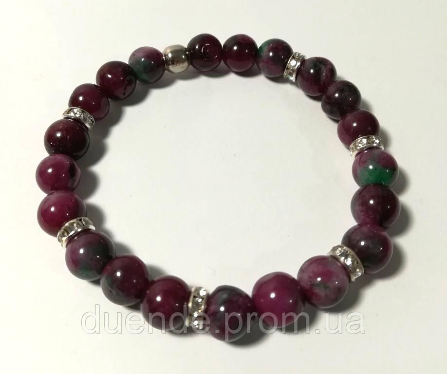 Браслет из Турмалина, натуральный камень, цвет оттенки красного, бордового, тм Satori \ Sb - 0194