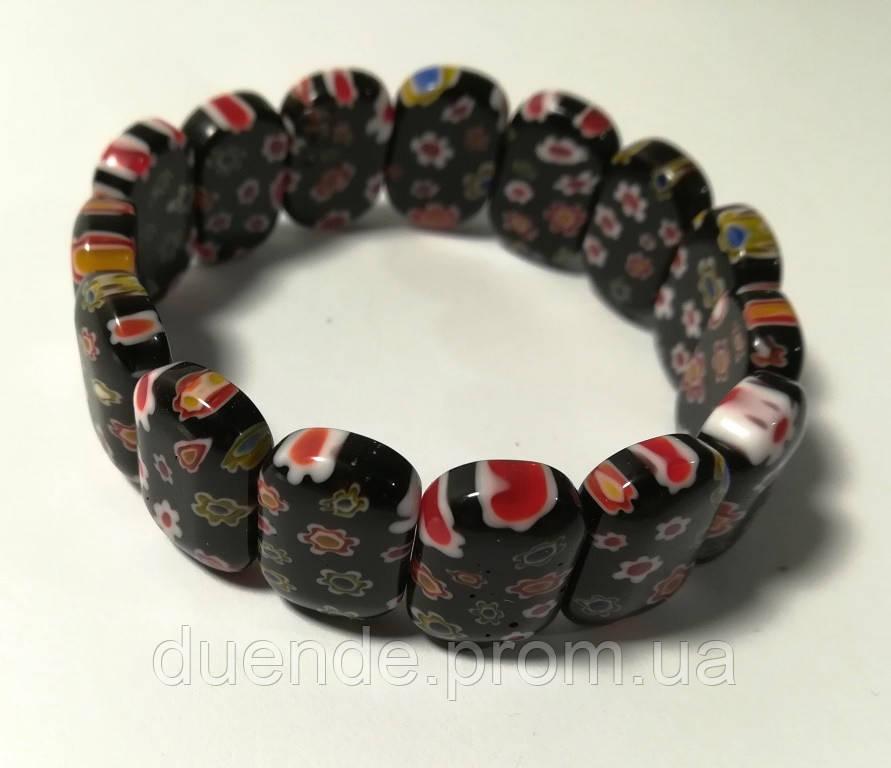Браслет из Муранского стекла, цвет черный, тм Satori \ Sb - 0198