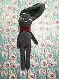 Зайчик з метеликом плюшевий, Зайчик з великими вухами висота 42 см, антистрес, холлофайбер, фото 6