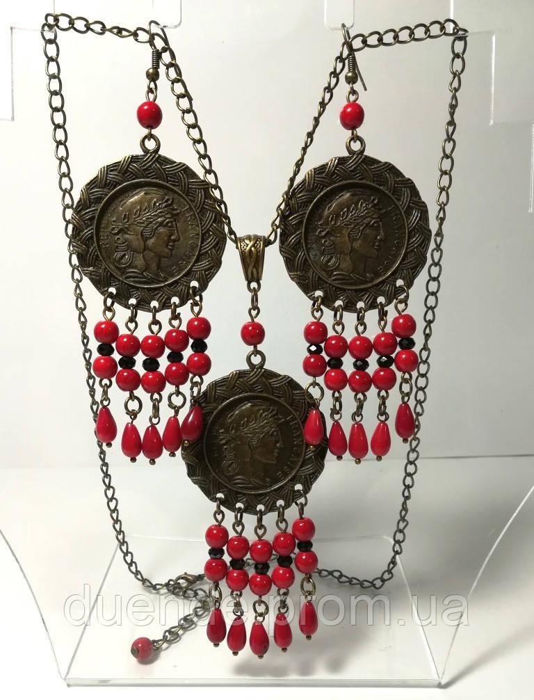 Комплект из Коралла с монетами, серьги + подвеска с цеп., бронза, натуральный камень, тм Satori \ Sn - 0016