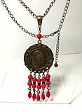 Комплект из Коралла с монетами, серьги + подвеска с цеп., бронза, натуральный камень, тм Satori \ Sn - 0016, фото 2