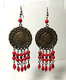 Комплект из Коралла с монетами, серьги + подвеска с цеп., бронза, натуральный камень, тм Satori \ Sn - 0016, фото 3
