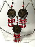 Комплект из Коралла с монетами, серьги + подвеска с цеп., бронза, натуральный камень, тм Satori \ Sn - 0016, фото 4