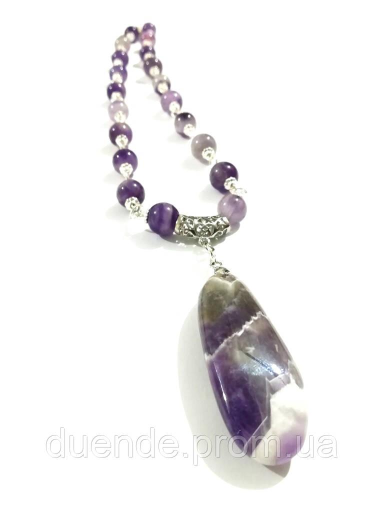 Колье с кулоном из Аметиста, натуральный камень, цвет фиолетовый и его оттенки, тм Satori \ Sk - 0102