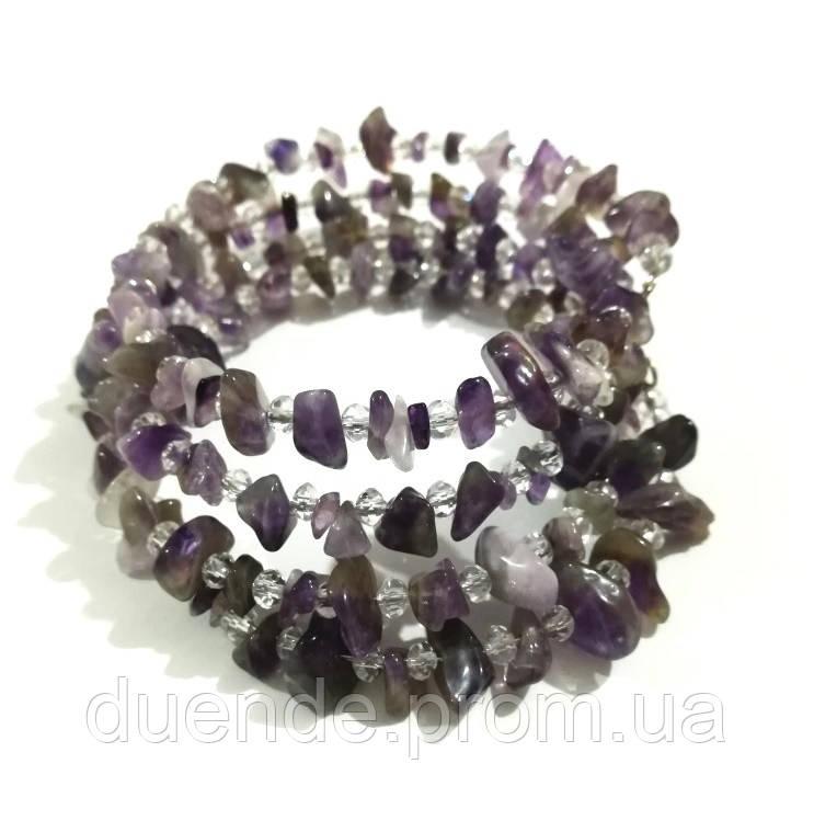 Браслет многорядный из Аметиста, натуральный камень, цвет фиолетовый и его оттенки, тм Satori \ Sb - 0261