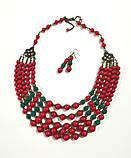 Намисто та сережки з Коралів Панянка, натуральный камень, цвет красный и его оттенки, тм Satori \ Sn - 0027, фото 2