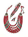Комплект украшений Коралл Панянка, натуральный камень, цвет красный и его оттенки, тм Satori \ Sn - 0028, фото 2