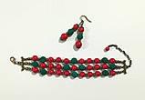 Комплект из Коралла браслет + серьги, натуральный камень, цвет красный и его оттенки, тм Satori \ Sn - 0029, фото 5