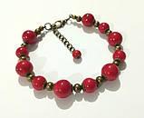 Браслет + серьги из Коралла комплект украшений, натуральный камень, тм Satori \ Sn - 0035, фото 2