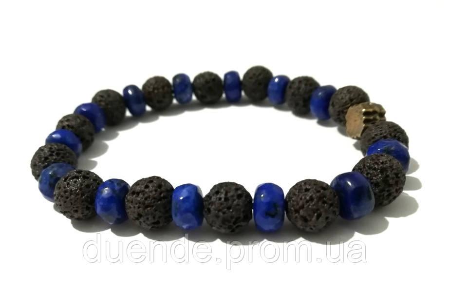 Браслет защитный Лава + Лазурит, натуральный камень, тм Satori \ Sb - 0265