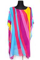 Пляжная шифоновая туника Fashion Альмерия Радуга One Size 90*83 см малиновый