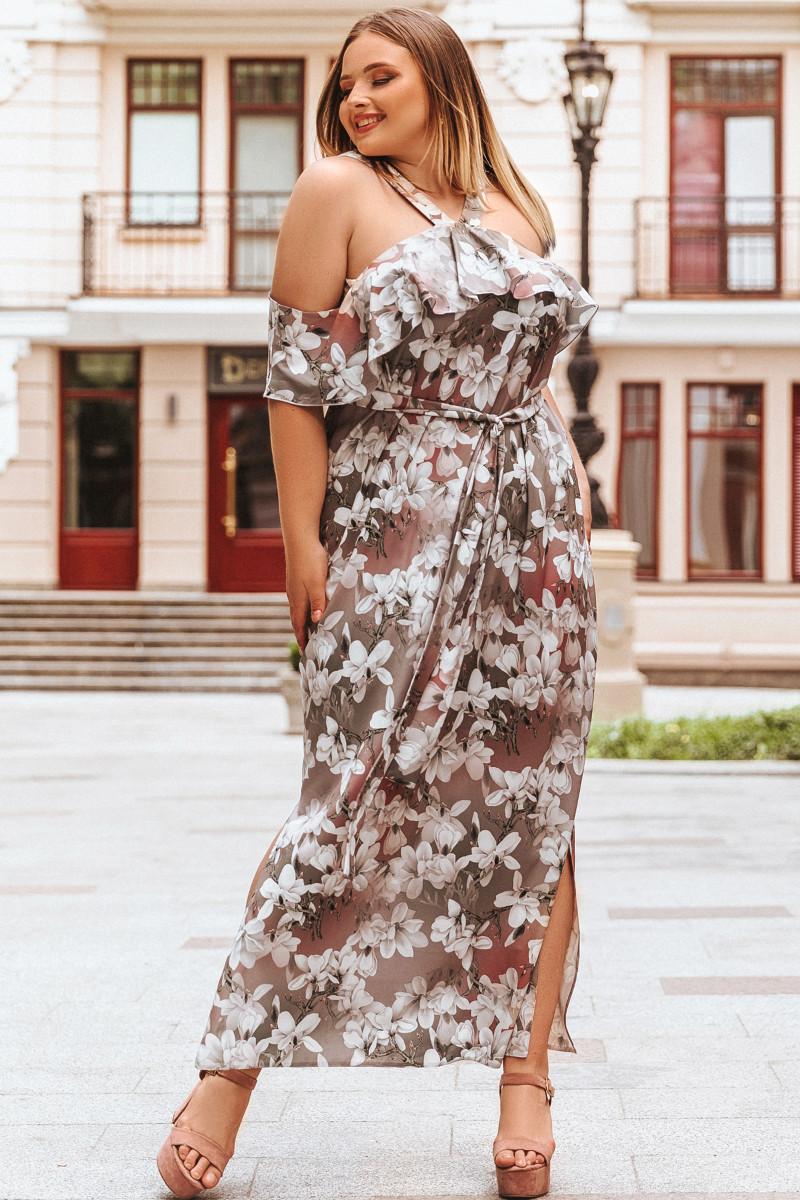 Батальное летнее платье Маринет бежевое