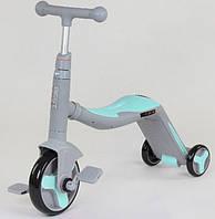 Cамокат-велобег-велосипед 3 в 1 JT 10181, цвет голубой, свет, 8 мелодий, колёса PU