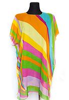 Пляжная шифоновая туника Fashion Альмерия Радуга One Size 90*83 см оранжевый