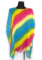 Пляжная шифоновая туника Fashion Альмерия Радуга One Size 90*83 см мультиколор