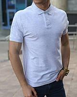 Светло-серая мужская футболка поло, фото 1