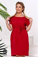 Красное летнее платье батал. Модель 25637 54/58