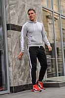 Мужской спортивный костюм - серая худи с лампасами и черные штаны с лампасами (весна-осень), фото 1
