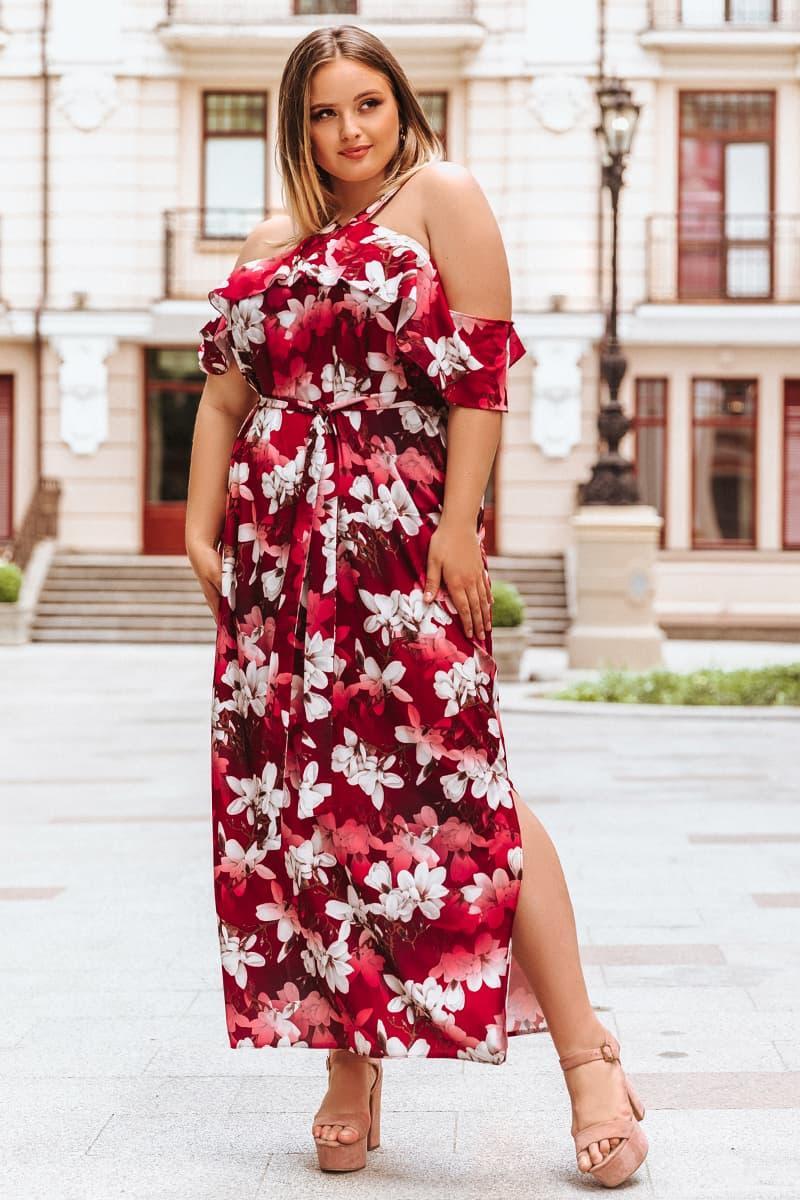 Платье большого размера Маринет бордовое