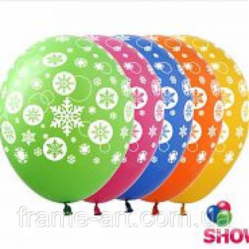 """Шар Art Show 12""""(30см) Снежинка, ассорти ( 5 сторон ) NG-02"""
