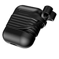 Чехол силиконовый для AirPods Baseus Case TZARGS-01 с держателем для наушников Черный (93744651)
