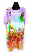 Пляжная шифоновая туника Fashion Альмерия  One Size 95*83 см сиреневый 525 -05